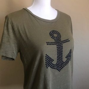 J. Crew Crystal Anchor Tee